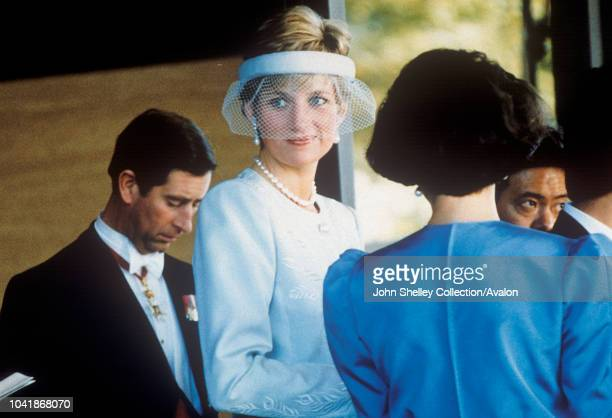Charles Prince of Wales and Diana Princess of Wales attend the Japanese Emperor Akihito enthronement ceremony at the Imperial Palace on November 12...