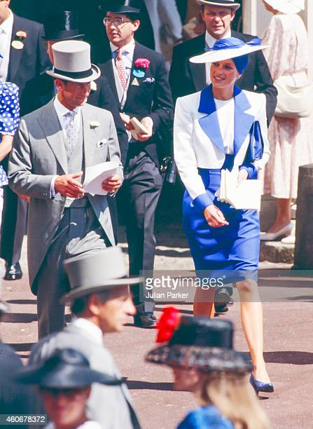 Charles Prince of Wales and Diana Princess of Wales attend The Royal Ascot race meeting on June 20 1989 in Ascot United Kingdom