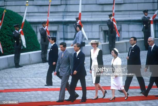 Charles, Prince of Wales, and Diana, Princess of Wales, during a formal visit to Akasaka Palace, Tokyo, Japan, Accompanied by Mr Yasuhiro Nakasone ,...