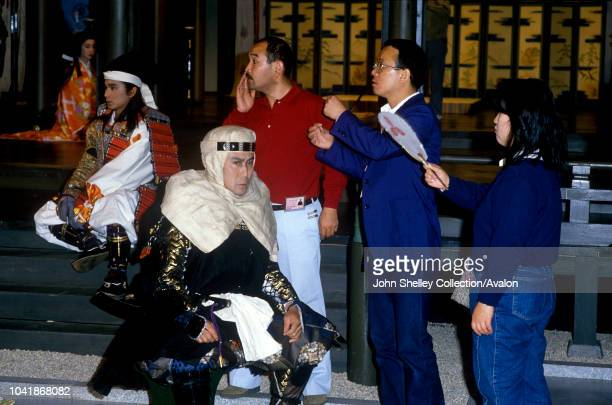Charles, Prince of Wales, and Diana, Princess of Wales, meet cast members of the Samurai TV series during a visit to NHK, Japan's Public Broadcasting...