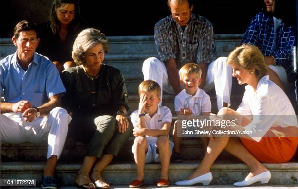 Charles Prince of Wales and Diana Princess of Wales on holiday in Majorca Spain with their sons Prince William and Prince Harry They are guests of...