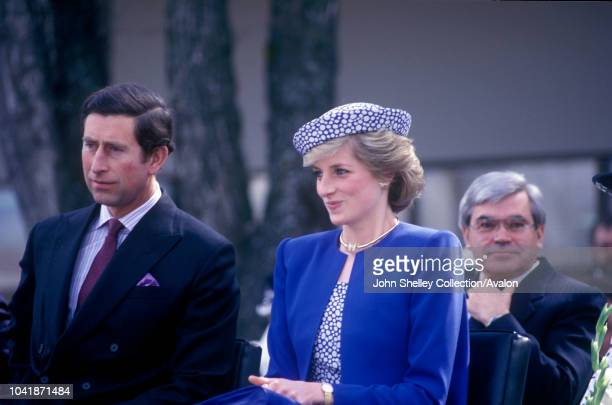 Charles Prince of Wales and Diana Princess of Wales visit Canada Diana is wearing a Catherine Walker suit and a hat by Graham Smith at Kangol City...