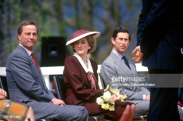 Charles Prince of Wales and Diana Princess of Wales visit Canada Kelowna British Columbia Diana is wearing a a Catherine Walker dress and Frederick...
