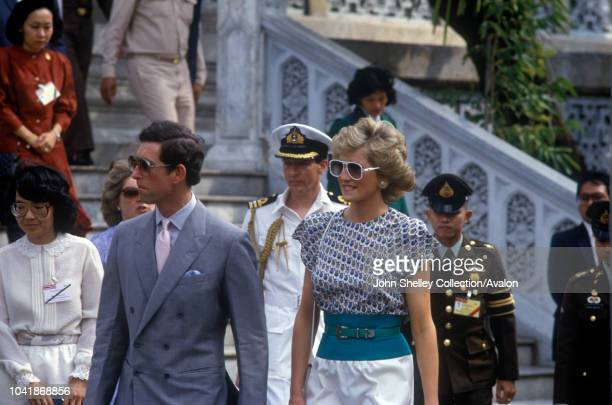 Charles Prince of Wales and Diana Princess of Wales visit Thailand Visiting Wat Phra Kaew The Temple of the Emerald Buddha Bangkok 4th February 1988