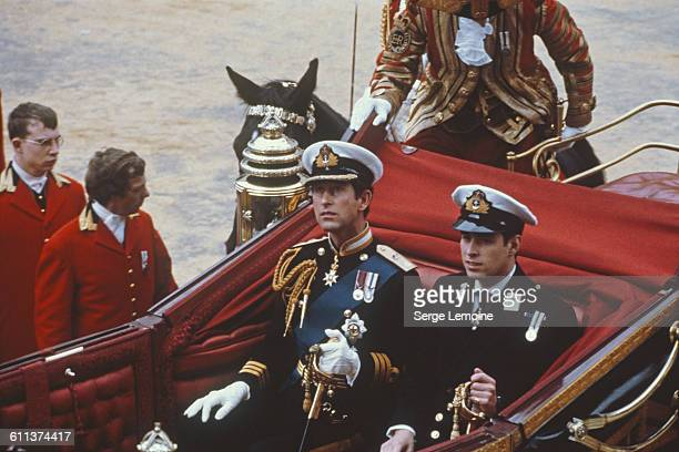 Charles Prince of Wales and his brother Prince Andrew make their way by coach to St Paul's Cathedral for Charles' wedding to Lady Diana Spencer...