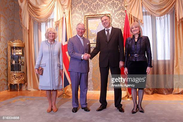 Charles Prince of Wales and his wife Camilla Duchess of Cornwall President of Montenegro Filip Vujanovic and his wife Svetlana Vujanovic pose for a...