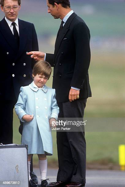 Charles Prince of Wales and Prince William at Aberdeen Airport boarding a Royal Flight back to London after a visit to Balmoral Estate Scotland on...