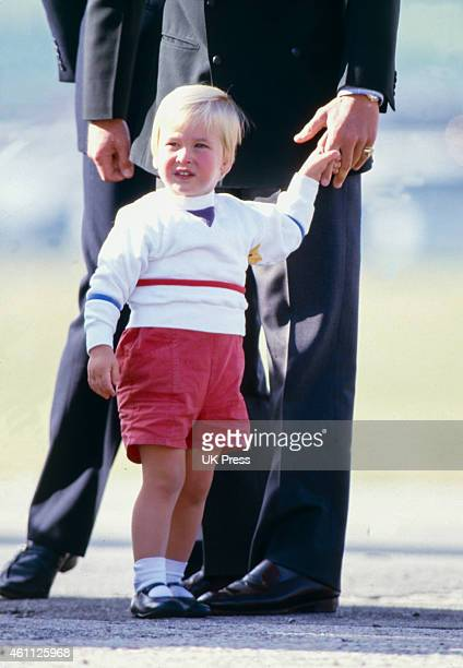 Charles Prince of Wales and Prince William leave Aberdeen Airport after a Summer Break at Balmoral Scotland on September 7 1984 in Aberdeen Scotland