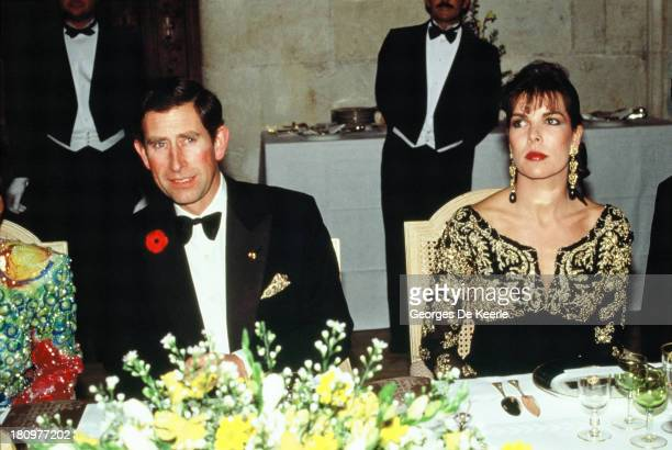 Charles Prince of Wales and Princess Caroline of Monaco attend a dinner at the Chateau de Chambord during his official visit to France on November 9...
