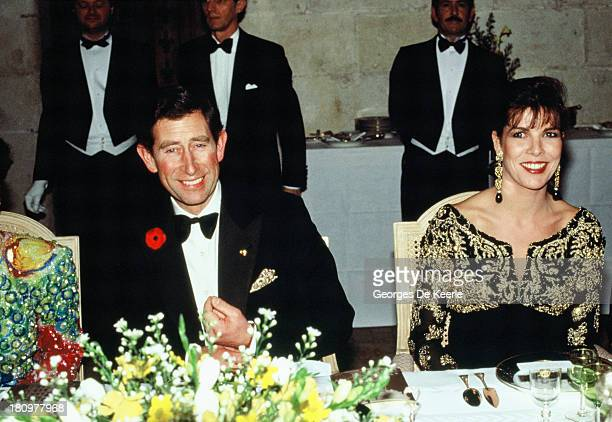 Charles, Prince of Wales, and Princess Caroline of Monaco attend a dinner at the Chateau de Chambord during his official visit to France on November...