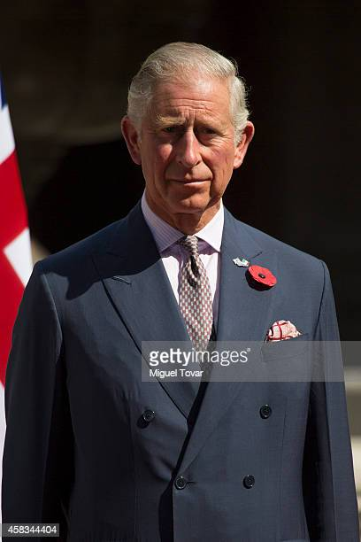 Charles Prince of Wales attends the welcome ceremony with Mexican President Enrique Pe–ña Nieto during an official meeting at Nacional Palace on...