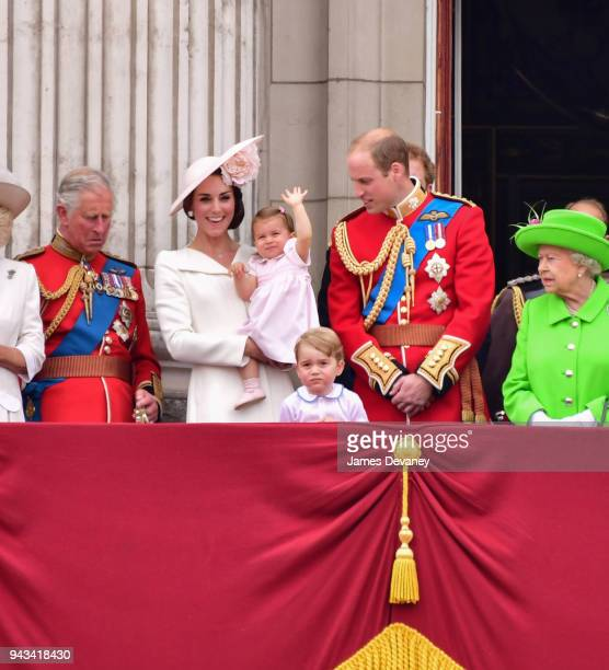 Charles, Prince of Wales, Catherine, Duchess of Cambridge, Princess Charlotte, Prince George and Prince William, Duke of Cambridge and Queen...
