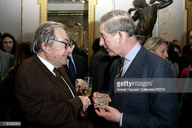 Charles Prince of Wales chats to author Professor George Steiner at a reception to celebrate the Everyman's Library Centenary held in the John...