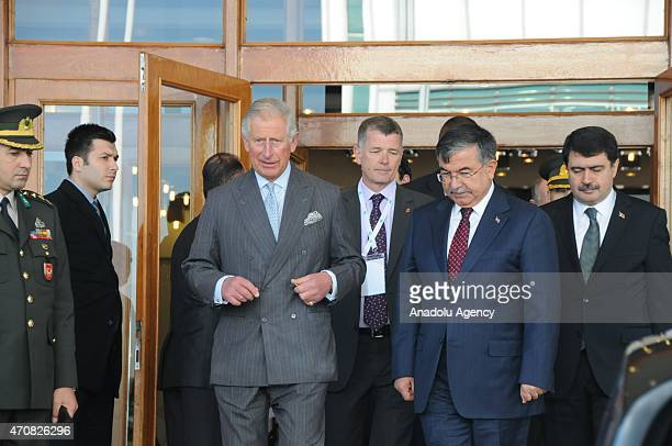 Charles , Prince of Wales, is welcomed by Turkish Defense Minister Ismet Yilmaz and the Governor of Istanbul, Vasip Sahin at the Ataturk...
