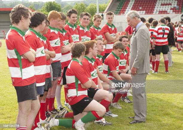 Charles Prince Of Wales Opens A New Stand At Llandovery Rugby Club In Wales
