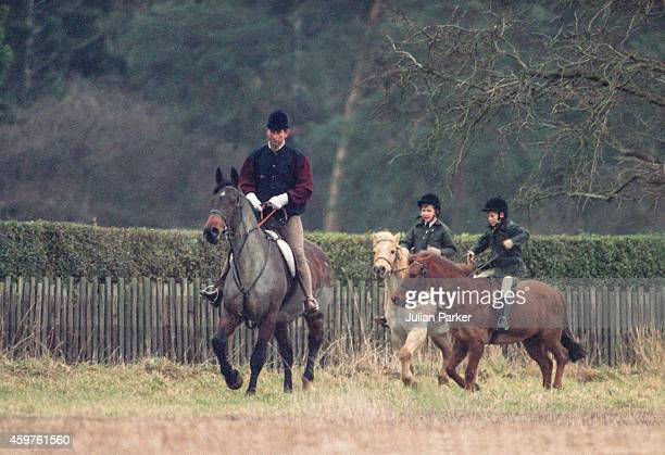 Charles Prince of Wales Prince William and Prince Harry riding at Sandringham Estate Norfolk on December 27 1990 in Sandringham United Kingdom