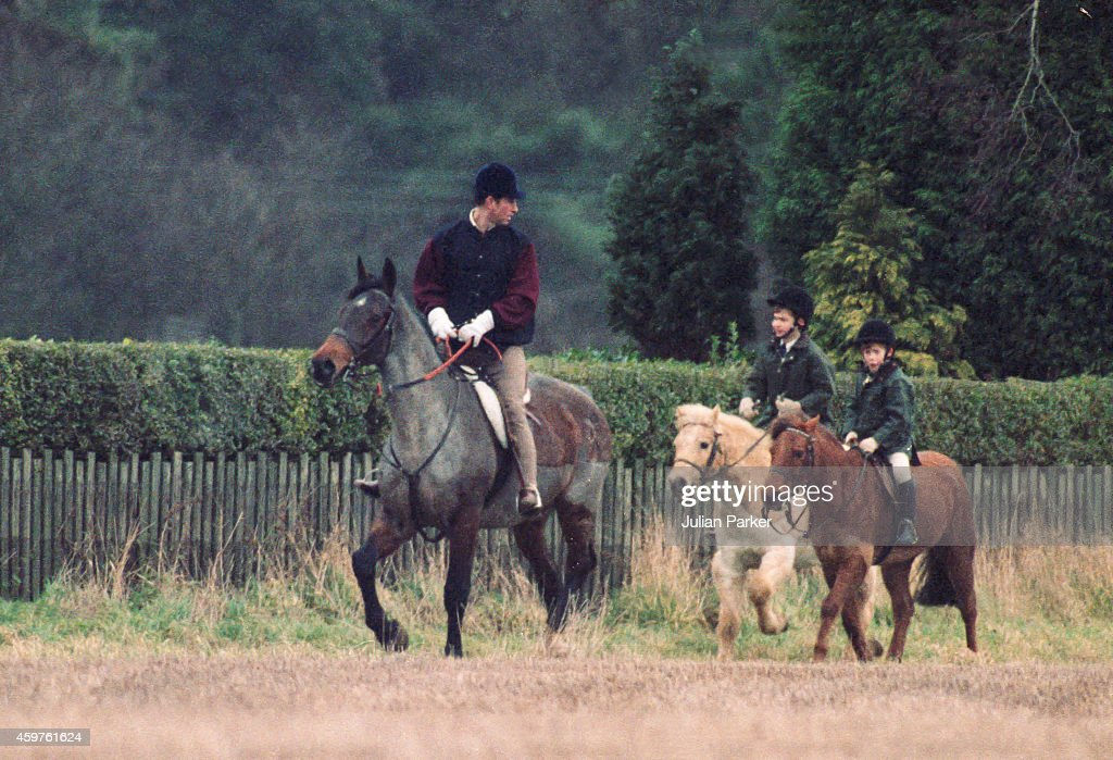 Charles, Prince of Wales, Prince William, and Prince Harry, riding at Sandringham : News Photo