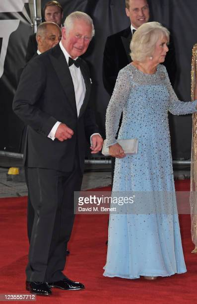 """Charles, Prince of Wales, Prince William, Duke of Cambridge, and Camilla, Duchess of Cornwall attend the World Premiere of """"No Time To Die"""" at the..."""