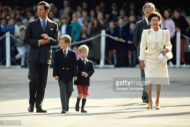 Charles Prince of Wales Prince William Prince Harry and Princess Margaret walk to the Beating Retreat ceremony at the Orangery in Kensington on June...