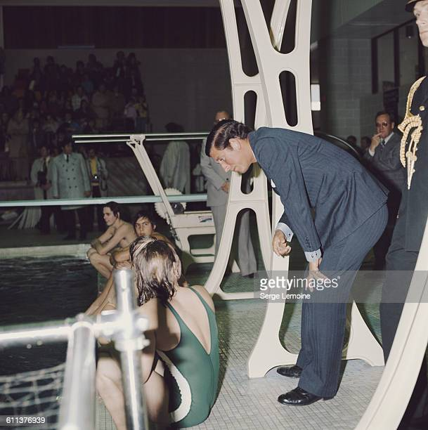Charles Prince of Wales visits a swimming pool during a tour of Canada April 1975