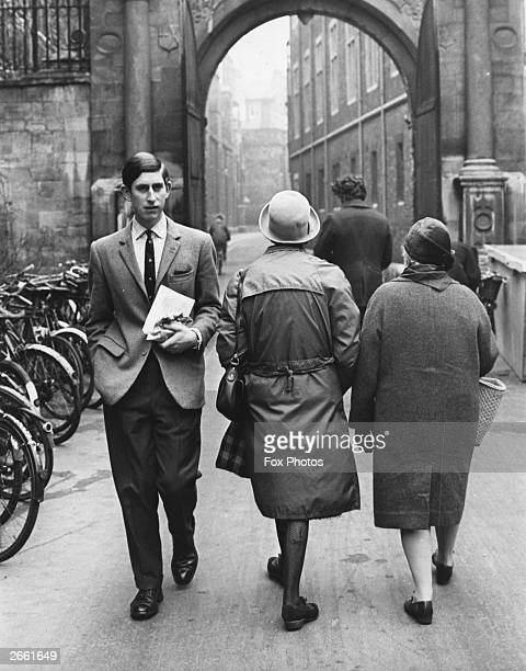 Charles, Prince of Wales walking along a Cambridge street whilst an undergraduate at the University of Cambridge.