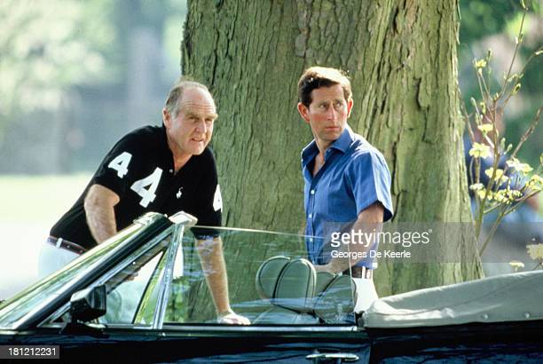 Charles Prince of Wales with his polo manager Major Ronald Ferguson during the Polo Season Opening at Cirencester Park Polo Club on May 8 1989 in...