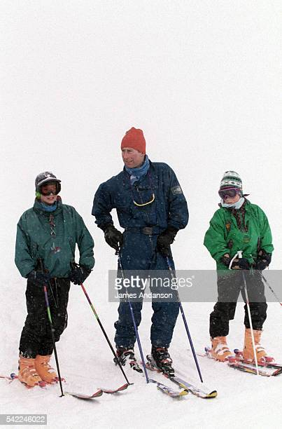 Charles Prince of Wales with his sons Prince Harry of Wales and Prince William Duke of Cambridge at winter sports in Klosters