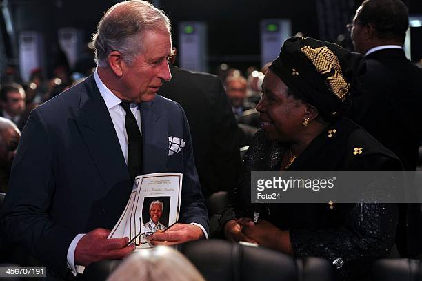 Charles Prince of Wales with Nkosazana DlaminiZuma during Madiba's State Funeral on December 15 2013 in Qunu South Africa Nelson Mandela passed away...