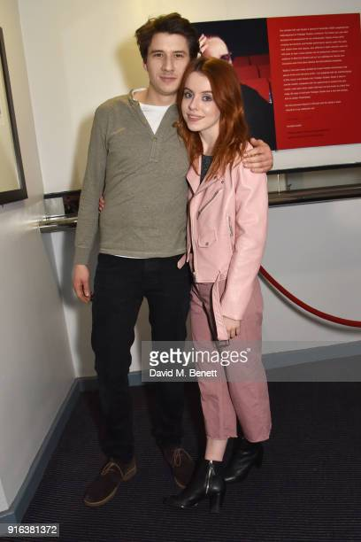 Charles Reston and Rosie Day attend the press night after party for 'Again' at Trafalgar Studios on February 9 2018 in London England