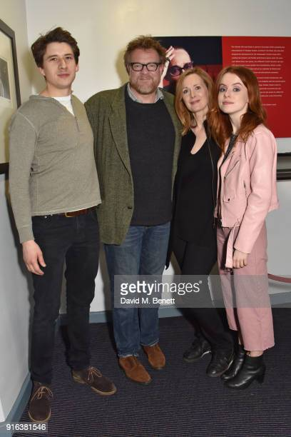 Charles Reston Chris Larkin Natasha Little and Rosie Day attend the press night after party for 'Again' at Trafalgar Studios on February 9 2018 in...