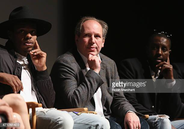 Charles Riley Hans Zimmer and Ladj Ly attend Tribeca Talks After The MovieLes Bosquets during the 2015 Tribeca Film Festival at SVA Theater on April...