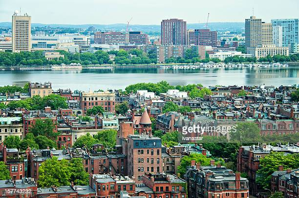 charles river and boston panorama - borough district type stock pictures, royalty-free photos & images