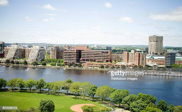 charles river and skyline of cambridge, massachusetts - cambridge massachusetts stock pictures, royalty-free photos & images