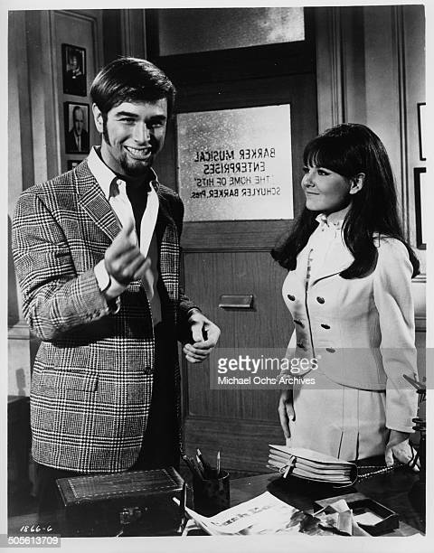 Charles Robinson and Shelley Fabares discover they hit the big time in a scene from the movie A Time to Sing circa 1968