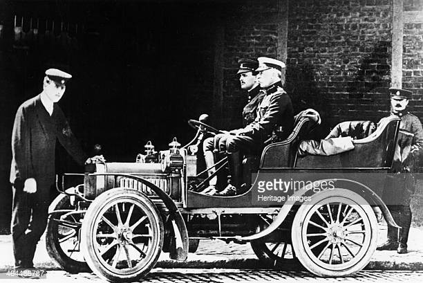 Charles Rolls at the wheel of a 1904 Royce car c1904 Rolls set up business selling French and Belgian cars before going into partnership with Henry...