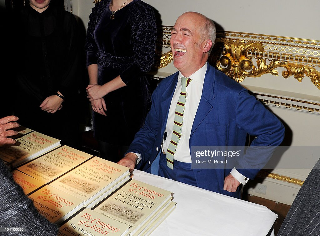 Charles Saumarez Smith, Chief Executive of the Royal Academy of Arts, signs copies of his new book 'The Company Of Artists: The Origins Of The Royal Academy Of Arts In London' at The Royal Academy of Arts on October 15, 2012 in London, England.
