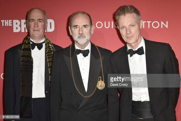 Charles Saumarez Smith Christopher Le Brun and Tim Marlow attend the Jasper Johns 'Something Resembling Truth' opening reception at The Broad on...