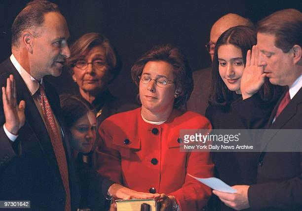 Charles Schumer sworn in to the US Senate by Vice President Al Gore at Avery Fisher Hall Lincoln Center LR Schumer daughter Alison Mother Selma wife...