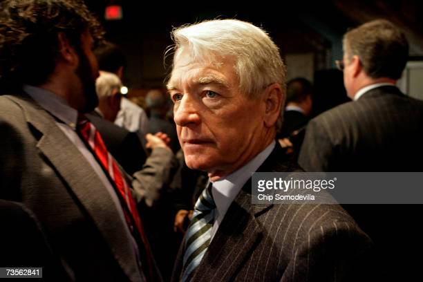 Charles Schwab chairman and CEO of Charles Schwab Corporation prepares to leave after participating in a panel discussion on capital markets at...
