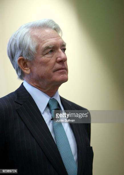 Charles Schwab Corp founder and chairman Chuck Schwab looks on during the grand opening of the new Charles Schwab flagship branch October 27 2009 in...
