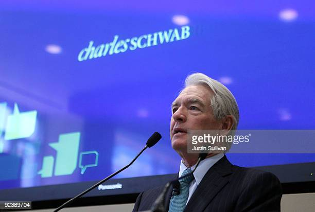 Charles Schwab Corp founder and chairman Chuck Schwab speaks during the grand opening of the new Charles Schwab flagship branch October 27 2009 in...