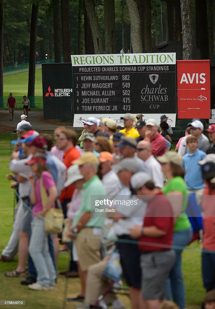 A Charles Schwab Cup leaderboard is located on the ninth hole during the third round of the Champions Tour Regions Tradition at Shoal Creek on May 16, 2015 in Shoal Creek, Alabama.
