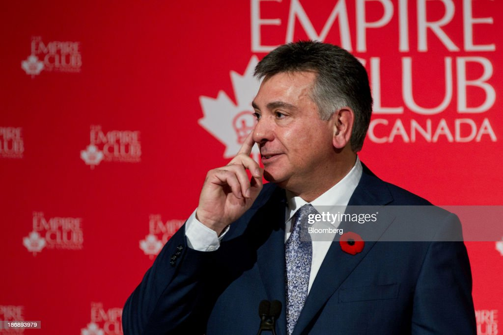 Charles Sousa, Ontario's finance minister, gestures while speaking at the Empire Club of Canada in Toronto, Ontario, Canada, on Monday, Nov. 4, 2013. Ontario, Canada's largest province by population, is considering tax measures to encourage investment and boost productivity, Sousa said today. Photographer: Galit Rodan/Bloomberg via Getty Images Charles Sousa