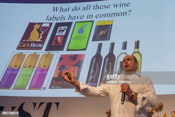 Charles Spence professor of Experimental Psychology at Oxford University speaks to participants about wine brain and consumer psychology during the...