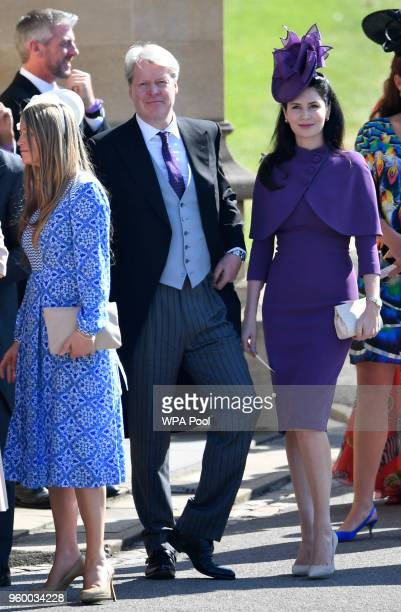 Charles Spencer 9th Earl Spencer and his wife Countess Karen Spencer arrive with guests to of the wedding of Prince Harry and Meghan Markle on May 19...