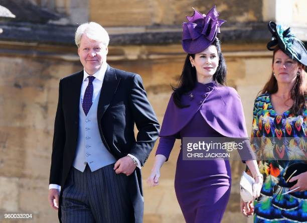 Charles Spencer 9th Earl Spencer and his wife Karen Spencer arrive for the wedding ceremony of Britain's Prince Harry Duke of Sussex and US actress...