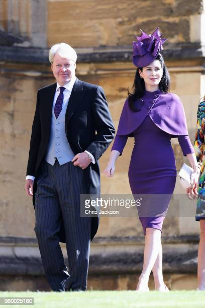 Charles Spencer 9th Earl Spencer and Karen Spencer arrive at the wedding of Prince Harry to Ms Meghan Markle at St George's Chapel Windsor Castle on...