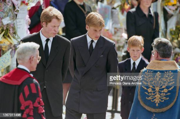 Charles Spencer, 9th Earl Spencer, brother of Diana, Princess of Wales , and her sons, Prince William and Prince Harry, attending the Princess's...