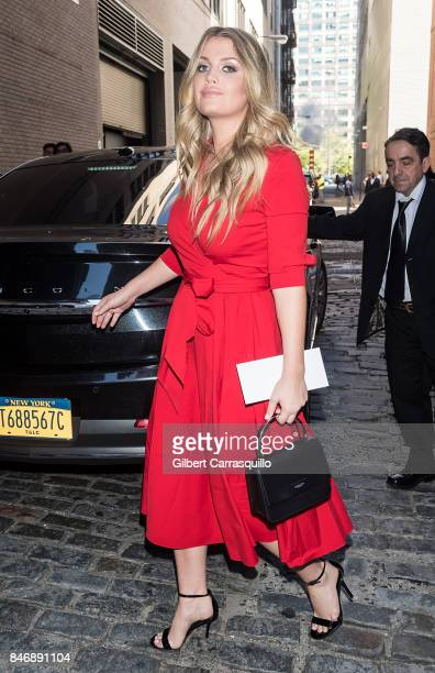Charles Spencer's daughter and niece of the late Diana Princess of Wales Lady Kitty Spencer is seen leaving Michael Kors Collection Spring 2018...
