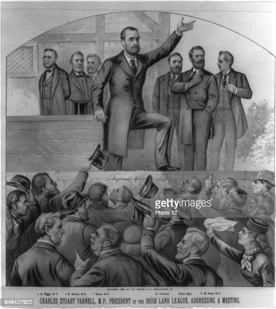 Charles Stewart Parnell Irish nationalist political leader and champion of Home Rule and President of the Irish Land League addressing a Meeting...